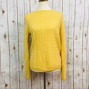 LL Bean Yellow Lambswool Blend Cable Knit Sweater